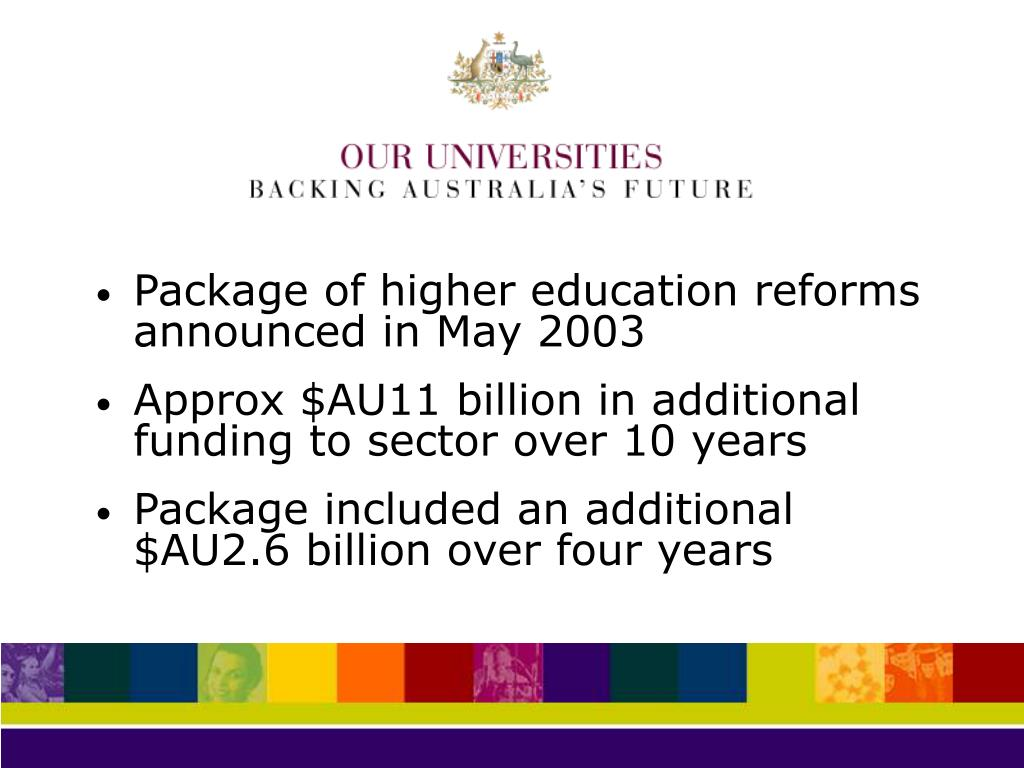 Package of higher education reforms announced in May 2003