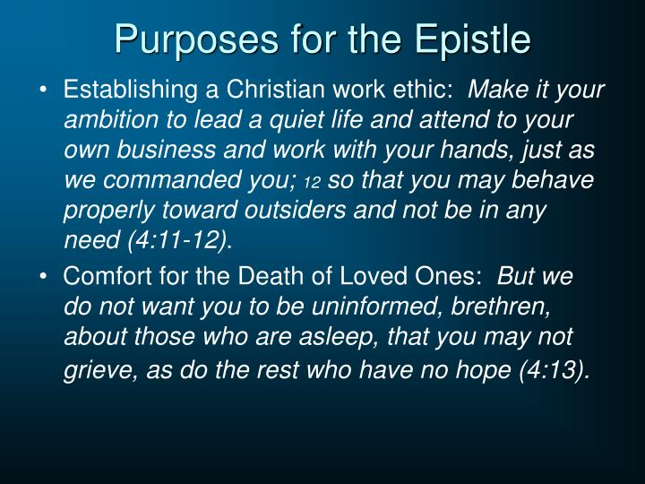 Purposes for the Epistle