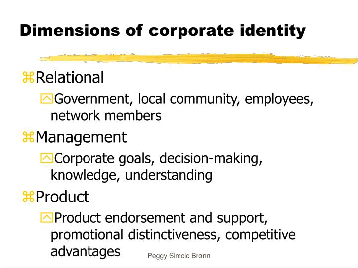 Dimensions of corporate identity