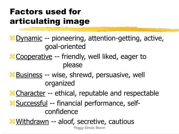 Factors used for