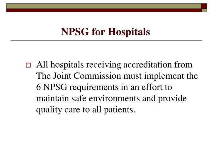 NPSG for Hospitals