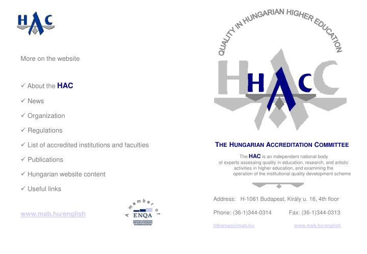 QUALITY IN HUNGARIAN HIGHER EDUCATION