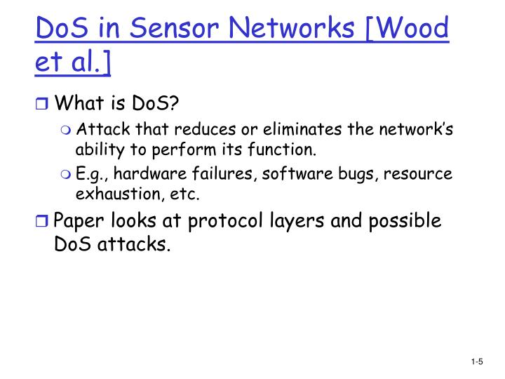 DoS in Sensor Networks [Wood et al.]