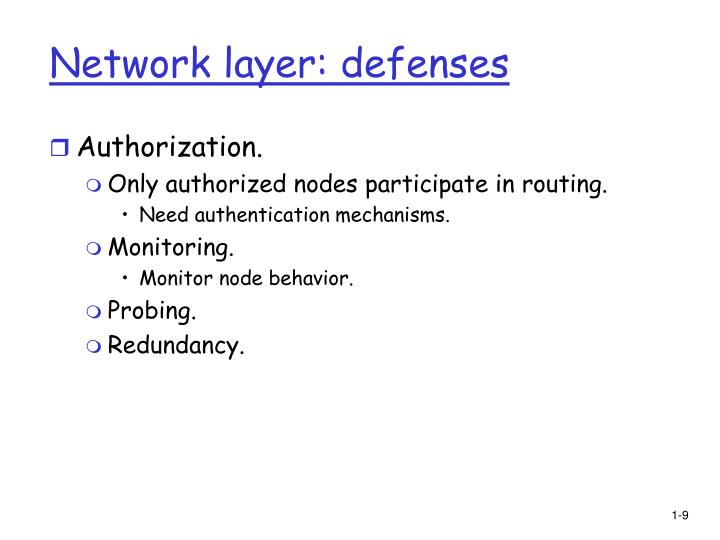 Network layer: defenses