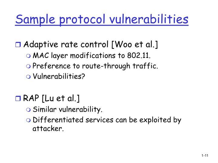 Sample protocol vulnerabilities
