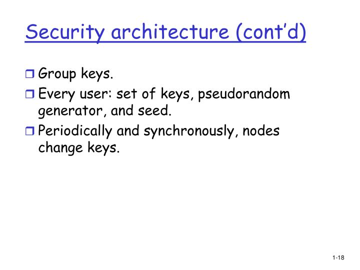 Security architecture (cont'd)