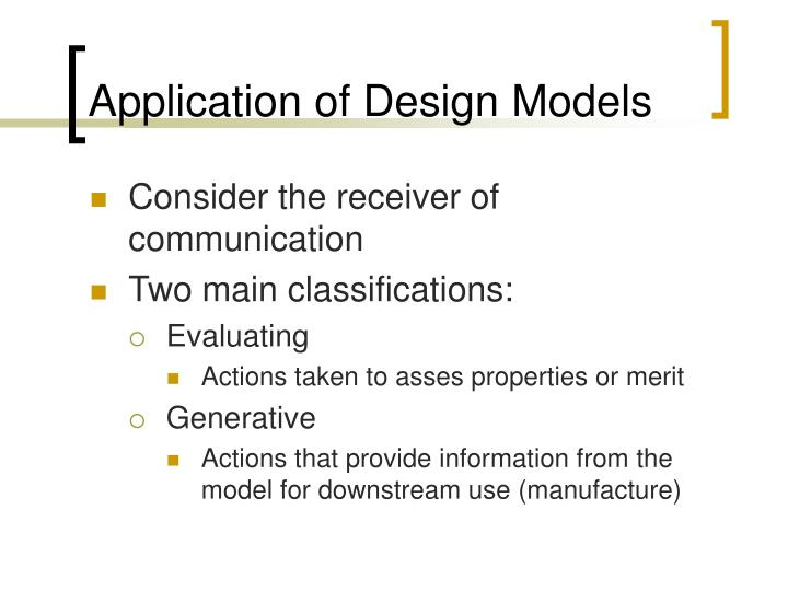 Application of Design Models