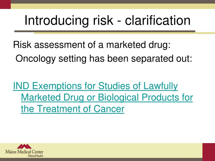 Introducing risk - clarification