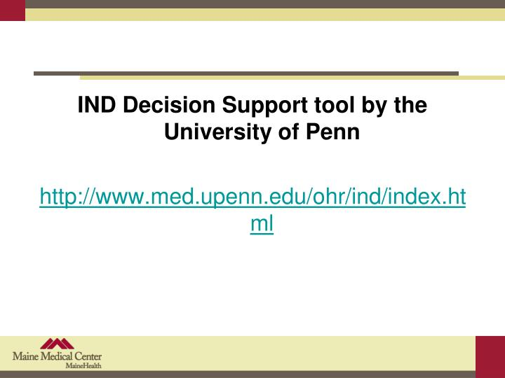 IND Decision Support tool by the University of Penn