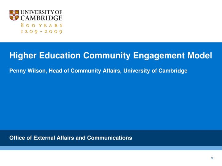 Higher Education Community Engagement Model