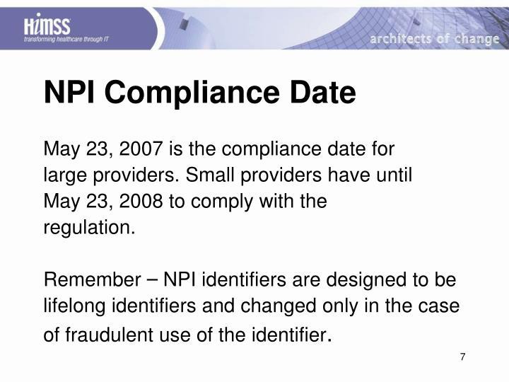 NPI Compliance Date