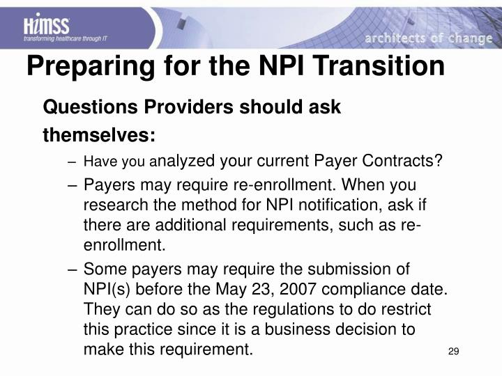 Preparing for the NPI Transition