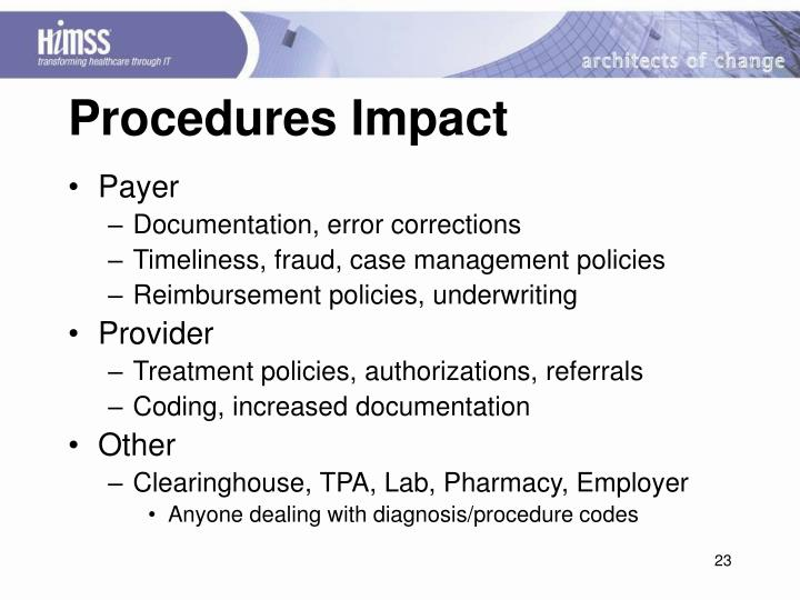 Procedures Impact