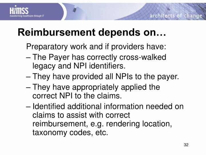 Reimbursement depends on…