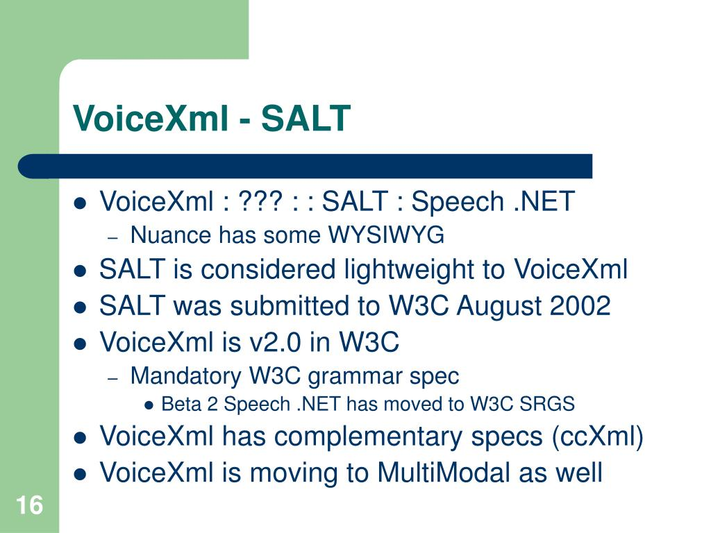 VoiceXml - SALT