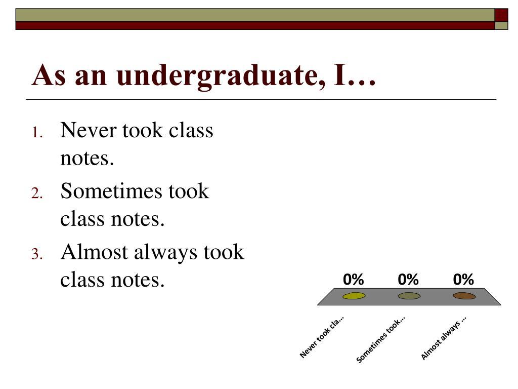 As an undergraduate, I…