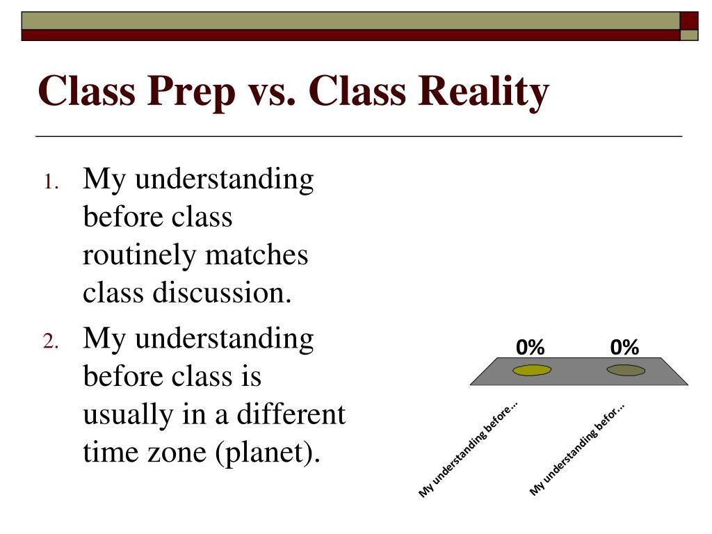 Class Prep vs. Class Reality