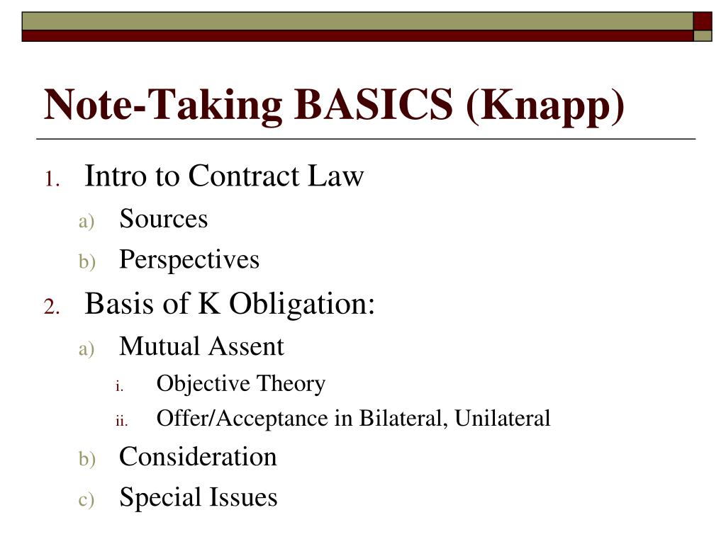 Note-Taking BASICS (Knapp)
