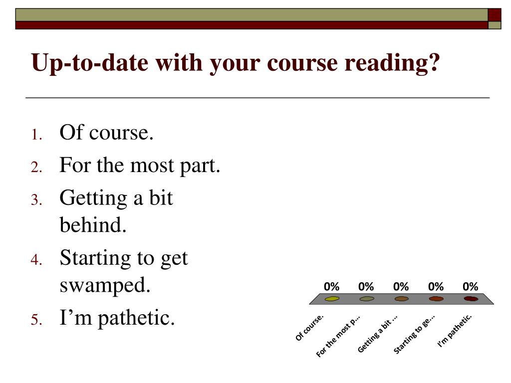 Up-to-date with your course reading?