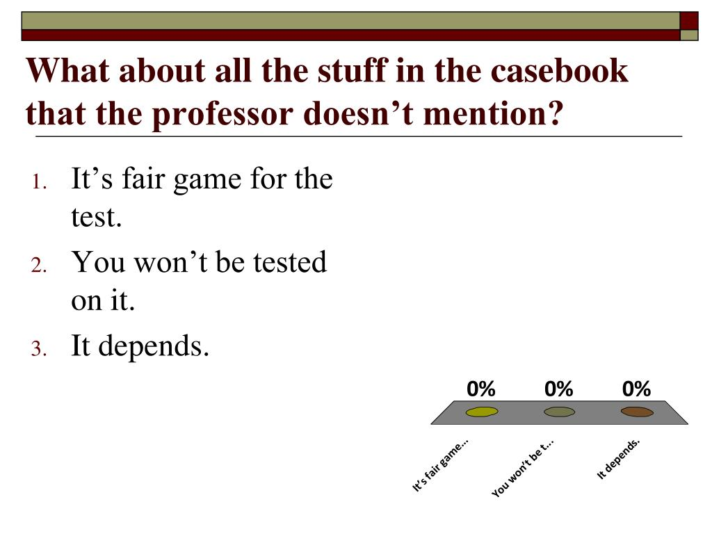 What about all the stuff in the casebook that the professor doesn't mention?