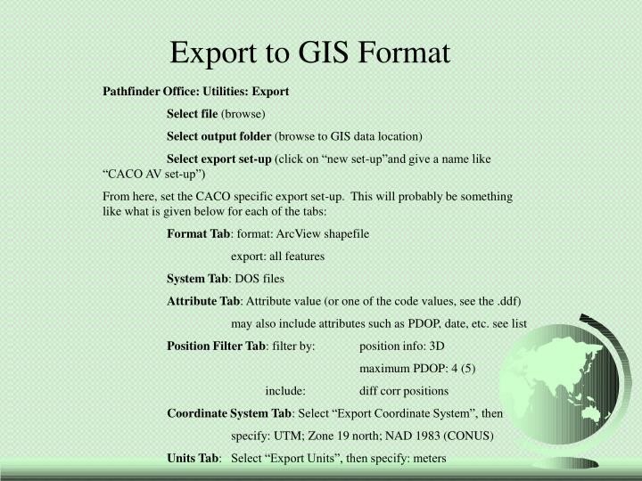 Export to GIS Format