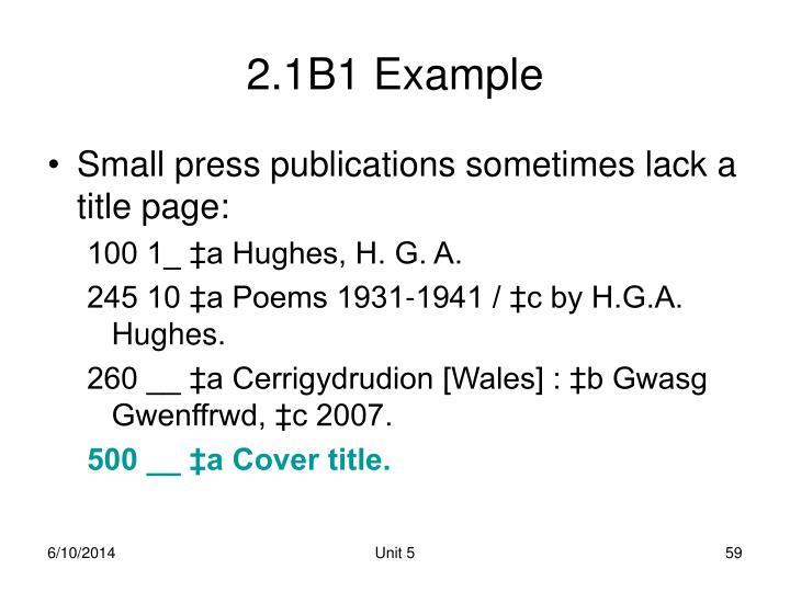2.1B1 Example
