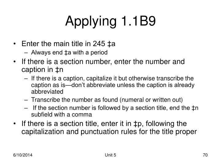 Applying 1.1B9