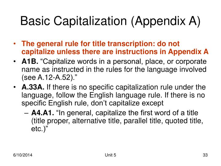 Basic Capitalization (Appendix A)