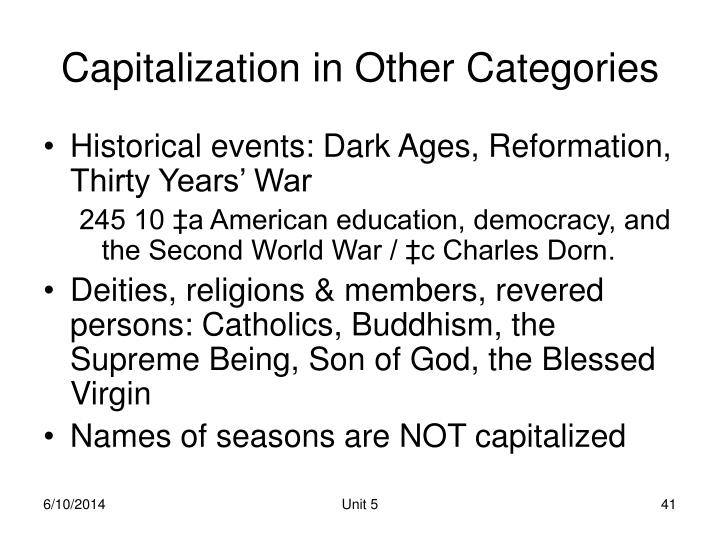 Capitalization in Other Categories