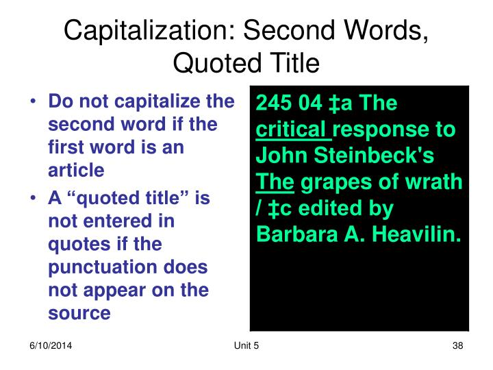 Capitalization: Second Words, Quoted Title