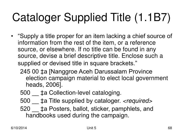 Cataloger Supplied Title (1.1B7)