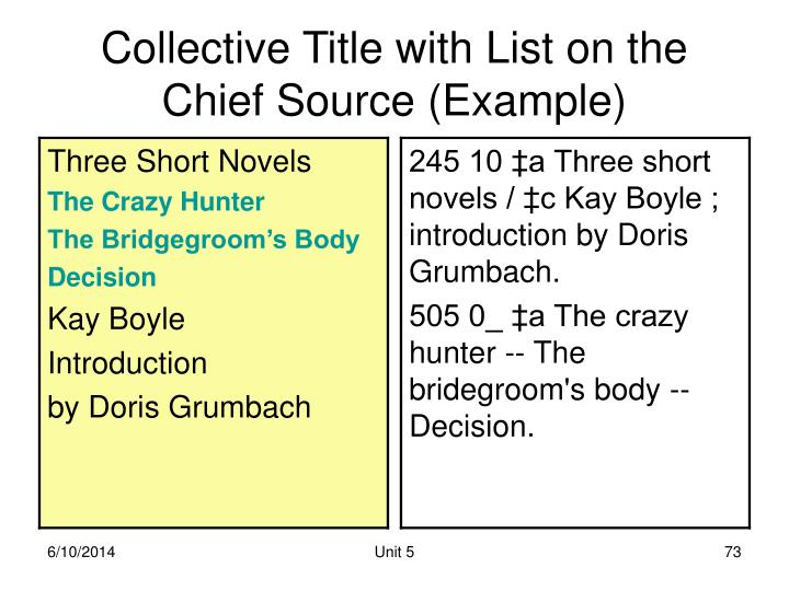 Collective Title with List on the Chief Source (Example)