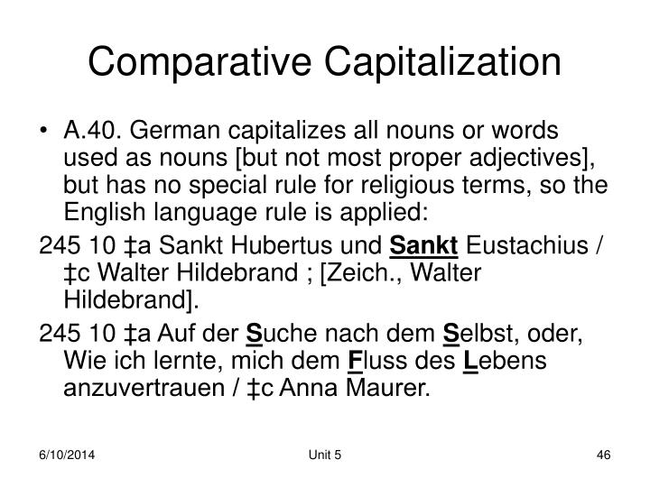 Comparative Capitalization