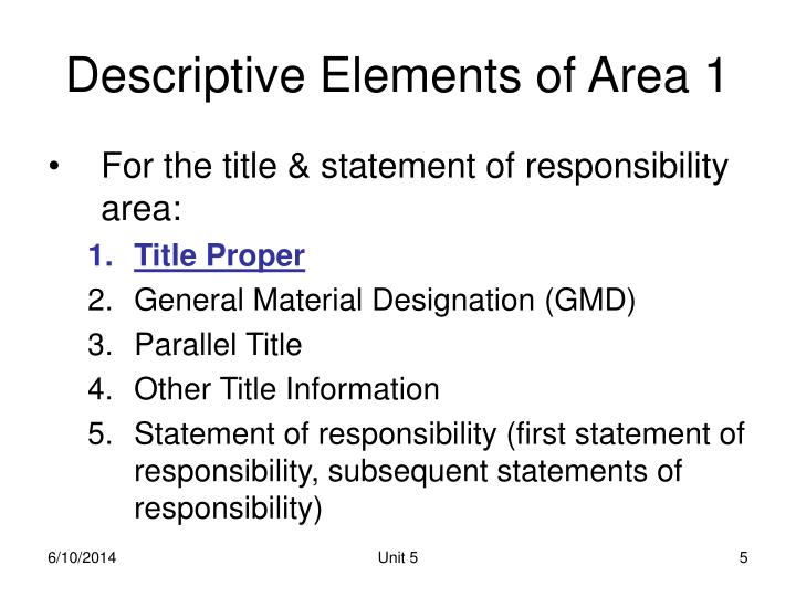 Descriptive Elements of Area 1