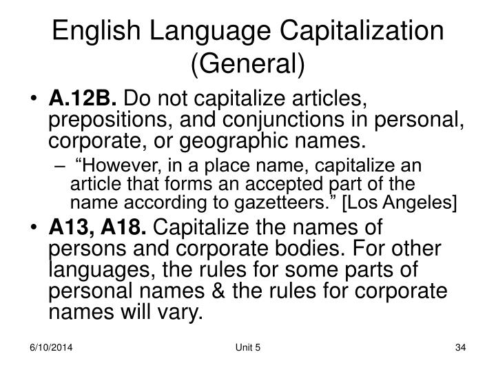 English Language Capitalization (General)