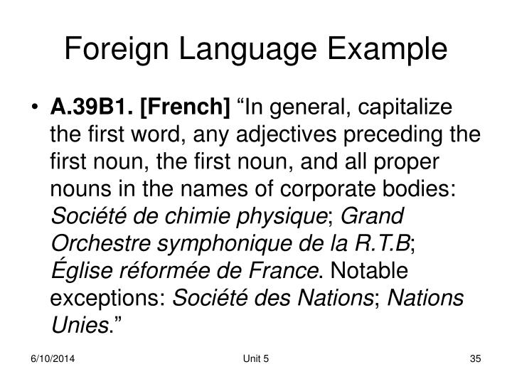 Foreign Language Example