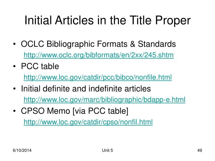 Initial Articles in the Title Proper
