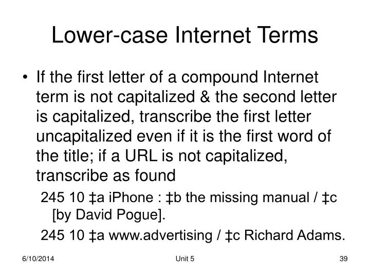 Lower-case Internet Terms