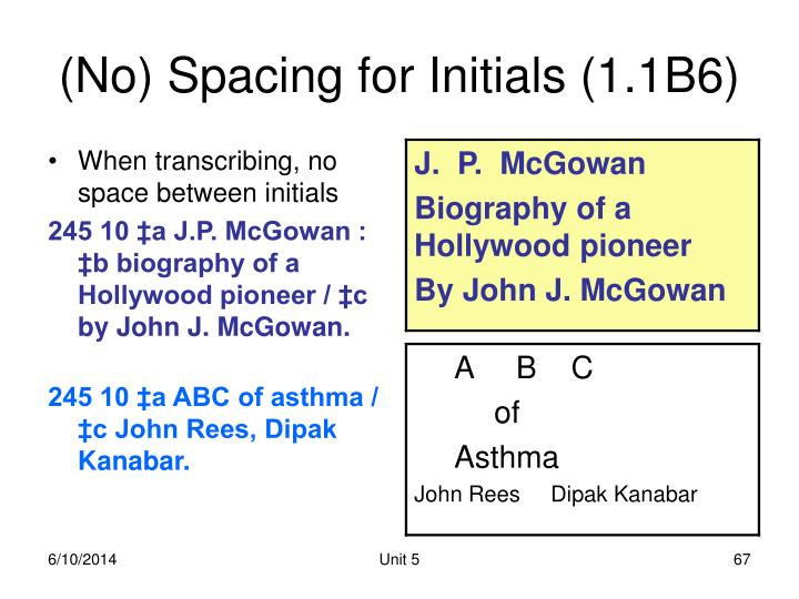(No) Spacing for Initials (1.1B6)