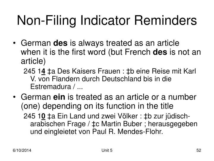 Non-Filing Indicator Reminders
