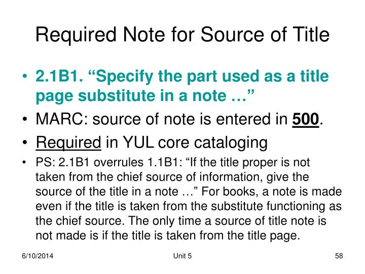 Required Note for Source of Title