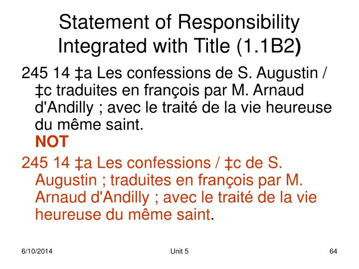 Statement of Responsibility Integrated with Title (1.1B2