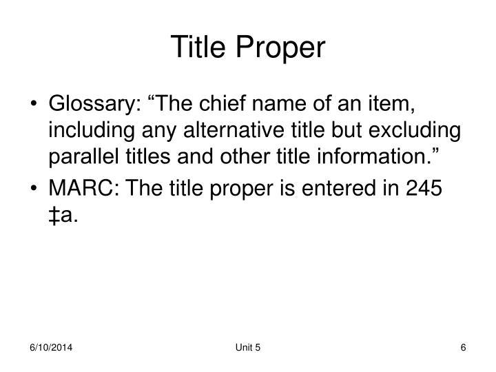 Title Proper