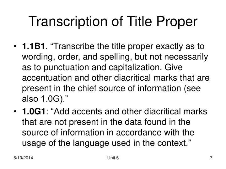 Transcription of Title Proper