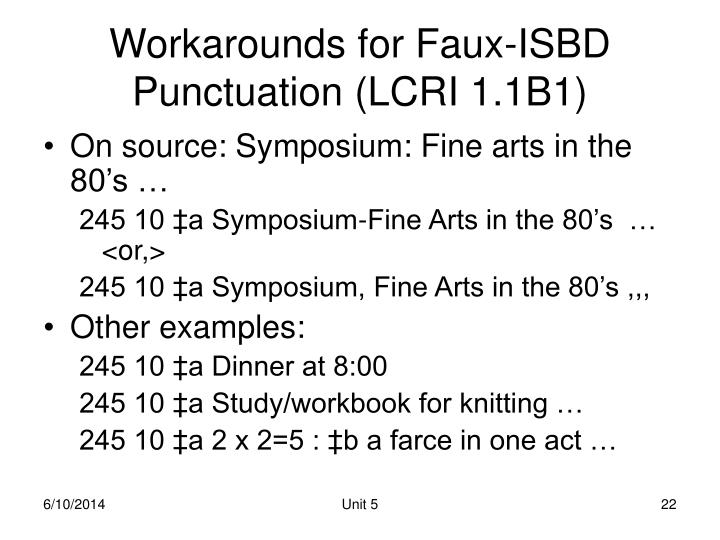 Workarounds for Faux-ISBD Punctuation (LCRI 1.1B1)