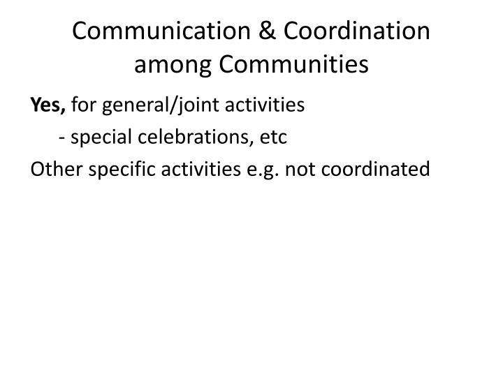 Communication & Coordination among Communities