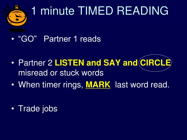 1 minute TIMED READING