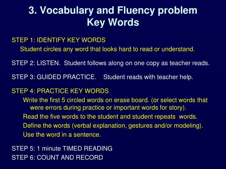 3. Vocabulary and Fluency problem