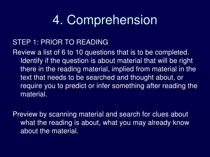 4. Comprehension