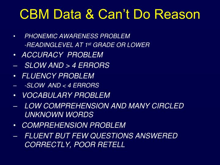 CBM Data & Can't Do Reason